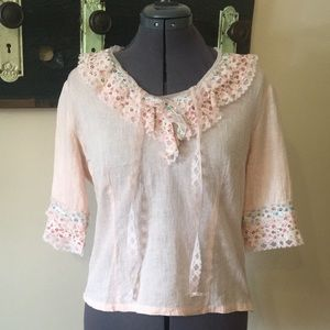 C & M Ruffled and Ribboned Blouse Size 40